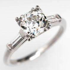 Vintage 1.36 Carat Old Euro Diamond Engagement Ring Platinum