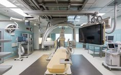 UMC New Orleans' surgery suite is located on the building's fourth level and includes a biplane interventional radiology operating room, pictured here. Image: © NBBJ/Sean Airhart.
