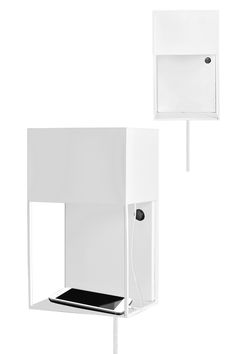 Wall Lamp Box Material: Metal white. Cable: White textil with switch on backplate and europlug. USB socket. High 30 cm Width 18 cm Out from wall 13 cm Lampholder E14 Max 40W Bulb L175 not included Design: Malin Lundmark