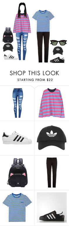 """""""Tae bringing me to eat w/ the BTS members ^^"""" by baekyeoltaekook on Polyvore featuring WithChic, adidas Originals, Topshop, Acne Studios and adidas"""