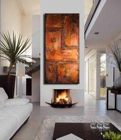 Pittura astratta originale rosso di arte di newwaveartgallery