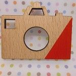 Red Splashed Geometric Old School Camera Wooden Brooch