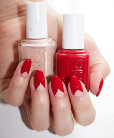 A holiday nail look with this perfect nail polish color pairing. Recreate this simple and chic nail art look using essie's award-winning, classic creamy red 'a-list' and a semi-sheer nude 'spin the bottle'. (Want more nail art ideas? Visit: http://www.essie.com/essie-looks.aspx)!