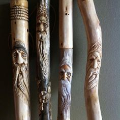 Hiking Sticks #woodcarving #woodsprite