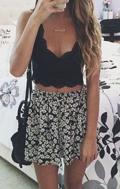 #street #style black lace top + floral skirt
