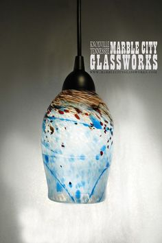 "Blue Blown Glass Lanterns | Medium 6.5"" Turquoise Speckled Red with Amber - When you purchase you ..."