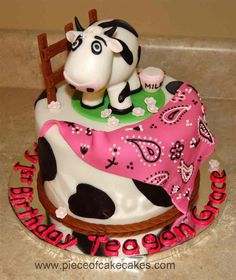 Cow Cake - I was approached by a client with a picture of a cake by Sweetcakes and was asked to duplicate the cake. I told them I would not copy it exactly but would modify it. I made some changes but they were adamant about the cow. Sorry for copying.