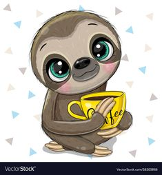 Cartoon sloth with a yellow cup coffee vector image on VectorStock