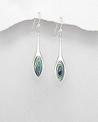 sterling silver earrings decorated with abalone shell