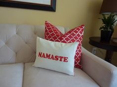 Namaste Pillow - DIY throw pillow using dish towel and iron-on letters