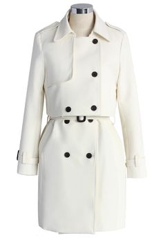 Creamy Beige Double-breasted Twinset Trench Coat