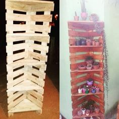 Right here comes another superb creation of wood pallet amazing shelving unit! Being vertical in designing work with the horizontal arrangement of the planks in it, this creation is ending out to be so majestic and lovely. Add it with planters to bring attractiveness in it overall.