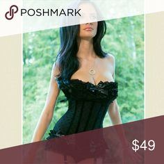 Black Polka Dot Mesh Corset Polka dot mesh corset with padded cups, metal boning and hook and eye back closure. Featuring removable garters and satin bow and ruffle detailing. This would look super cute with your favorite jeans! coquette Intimates & Sleepwear