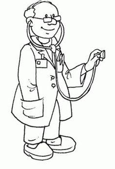 okul öncesi meslekler boyama sayfası doktor