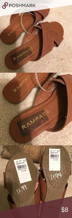 Tan rampage sandals- never worn- new with tags Comfortable classic rampage sandals- size 6 in tan- there is a darker area where a sticker had been on the right shoe heel area Rampage Shoes Sandals