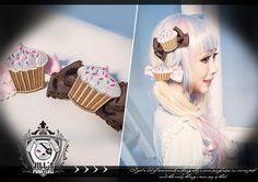 lolita fairy spank cartoon fantasy choco sprinkle Cup cake ribbon bow hair clip #jill