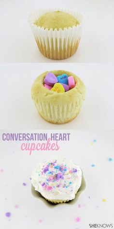 How to Make Conversation Heart Cupcakes for Valentine's Day #ValentinesDay #Cupcakes #ConversationHearts