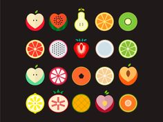 Fruit Illustration, Food Illustrations, Graphic Illustration, Icon Design, Logo Design, Fruit Icons, Fruit Logo, Fruits Drawing, Fruit Art