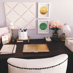 My college dorm at the University of Kentucky.   DORMSPIRATION Cute Ideas Gold White Dorm Studs Flowers Kate Spade Mac Apple Desk Organization