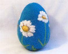 Large Needle Felted Easter Egg - Daisies on Blue Egg