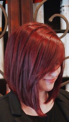 "Red hair is not for the faint of the heart. Red hair color is a fierce and bold hair colorRead More Bold & Beautiful Bright Red Hair Color Shades & Hairstyles"" Bob Hairstyles, Straight Hairstyles, Bob Haircuts, Red Bob Hairstyle, Trendy Hairstyles, Red Bob Haircut, Long Bob Haircut With Bangs, Pinterest Hairstyles, Office Hairstyles"