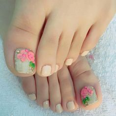 Soft beige pedi art design with colorful big flowers. New for summer. Toe Nail Color, Nail Colors, Toenails, Big Flowers, Ant, Wedding Nails, Nail Designs, Nail Art, Summer