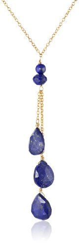 Gold-Plated Sterling Silver and Lapis Lazuli Drop Necklace - http://www.sparklingheaven.com/necklaces/gold-plated-sterling-silver-and-lapis-lazuli-drop-necklace/ - Lapis Lazuli