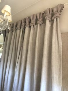 Linen Curtain - Ash Gray Burlap - Wide Ruched Tabs - Home made curtains. No Sew Curtains, Drop Cloth Curtains, Burlap Curtains, Hanging Curtains, Velvet Curtains, Double Curtains, Blackout Curtains, Layered Curtains, Decorative Curtains