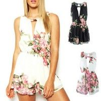 Wish | Women's Sexy Mini Playsuit Ladies Jumpsuit Summer Shorts Chiffon Hollow Out Beach Shorts Rompers