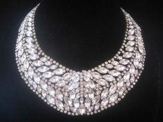 Vintage Huge Clear Rhinestone Statement Bib Collar Necklace