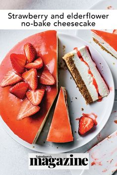 This strawberry and elderflower cheesecake is a beautiful dessert, perfect for sharing or summer celebrations. Plus, it's easy peasy as it requires no baking. Get the Sainsbury's magazine recipe Party Desserts, Summer Desserts, No Bake Desserts, Dessert Recipes, Baked Cheesecake Recipe, No Bake Cheesecake, Magazine Recipe, Classic Cheesecake, Digestive Biscuits