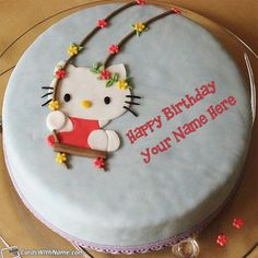 Write your name on beautiful Hello Kitty Birthday Cake For Girls with name. Print or Edit your name on lovely happy birthday cakes and generate photo with best online cake generator and editor. Awesome Hello Kitty Birthday Cake For Girls with name. Happy Birthday Cake Girl, Birthday Cake Maker, Online Birthday Cake, Hello Kitty Birthday Cake, Birthday Cake Writing, Birthday Wishes Cake, Pink Birthday Cakes, Beautiful Birthday Cakes, Hello Kitty Cake