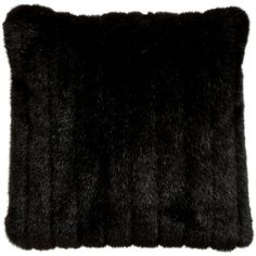 Ethan Allen Black Mink Faux Fur Pillow ($107) ❤ liked on Polyvore featuring home, home decor, throw pillows, pillows, decor, bedding, cushions, faux fur throw pillows, black home decor and black toss pillows