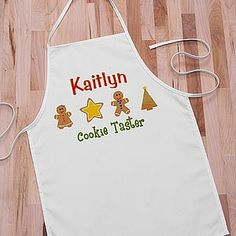 "Cute! ""Cookie Taster"" Kids apron ... perfect for when you're baking and decorating your Christmas Cookies this year! #Christmas #ChristmasCookie"