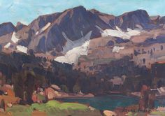 """""""Early Summer - Sierras,"""" Edgar Payne, oil on board, x private collection. Edgar Payne, A4 Poster, Poster Prints, Landscape Paintings, Landscapes, Oil Paintings, California Art, Mountain Art, Vintage Artwork"""