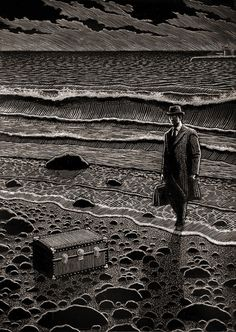 Artist Douglas Smith made a stunning monochromatic illustration series entitled Thrillers and that could be like engraving. In fact the illustrator used scratchboard and tools to create this beautiful final result. Gravure Illustration, Illustration Art, Mandala Art, Art Scratchboard, Douglas Smith, Arte Alien, Scratch Art, Ink Illustrations, Pen Art
