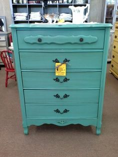 $139 - Shabby 4 Drawer Chest painted turquoise, distressed and finished with a hand applied tinted wax. ***** In Booth A8 at Main Street Antique Mall 7260 E Main St (east of Power RD on MAIN STREET) Mesa Az 85207 **** Open 7 days a week 10:00AM-5:30PM **** Call for more information 480 924 1122 **** We Accept cash, debit, VISA, Mastercard, Discover or American Express