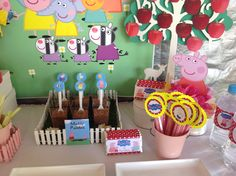 Peppa Pig 3rd birthday party using our cute Peppa pig party printables by MillyBoo DesignsParty by Enchanted Island Lolly Buffets
