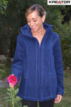 Bluza polarowa z kapturem, Kreator Studio Mody, r. 40 - Rozmiar 40 - Bluzy polarowe
