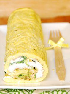 Rollo de Tortilla con calabacines y crema de queso