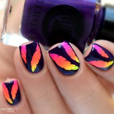 nails.quenalbertini: Instagram photo by melynenailart Nails done using Feather Stencils from WhatsUpNails.com @whatsupnails