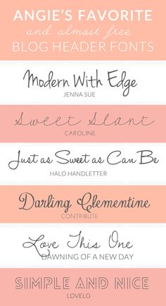 Here are My Favorite and Free Fonts For Blog Headers. Most of These Fonts are Free and Look Fabulous in Blog Header Designs!