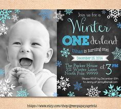 Boy's Winter Onederland Invitation - Digital File - Printable - Blue and Teal - Snowflake - Boy's First Birthday Invitation