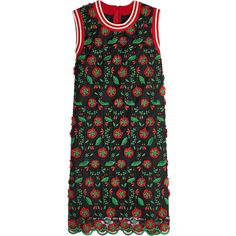 Anna Sui Embroidered Shift Dress ($320) ❤ liked on Polyvore featuring dresses, dresses 4, multicolored, broderie dress, embroidery dresses, multicolored dress, leaf print dress and colorful dresses