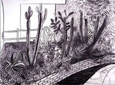 View CACTUS GARDEN By David Hockney; charcoal on paper; Access more artwork lots and estimated & realized auction prices on MutualArt. David Hockney Landscapes, David Hockney Paintings, Landscape Pencil Drawings, Landscape Paintings, Hockey Drawing, Pop Art Movement, Charcoal Sketch, Contemporary Paintings, Illustration Art