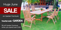 Check our our Huge June Sale on Garden Furniture with our exclusive voucher code! Garden Furniture Sale, Outdoor Furniture Sets, Outdoor Decor, Garden Power Tools, Extendable Dining Table, Solar Lights, Tricks, Outdoor Gardens, Teak