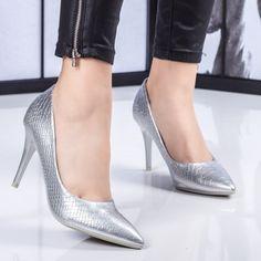 Pantofi dama cu toc argintii Zimalia -rl Stiletto Heels, Pumps, Shoes, Fashion, Moda, Zapatos, Shoes Outlet, Fashion Styles, Court Shoes