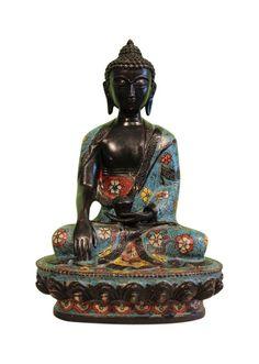 Shakyamuni Buddha Statue aus Bronze, Cloisonné