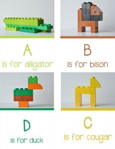 Lego Animal Alphabet A-D - Free Printable - at play learn love #homeschool with Legos, teach with Legos