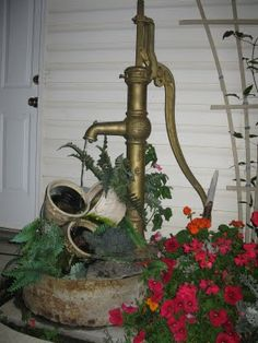 Hand pump water feature
